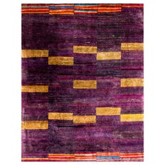 Modern Purple Plum Gold Natural Silk Hand Woven Rug in Stock