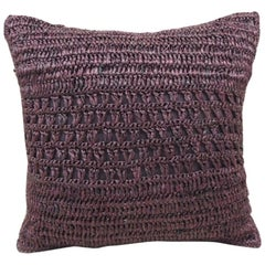 Modern Purple Woven Raffia Petite Decorative Pillow