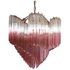 Modern Quadriedri Murano Glass Chandelier, 114 Shaded Pink Prism Quadriedri