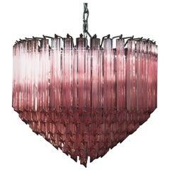 Modern Quadriedri Murano Glass Chandelier, 163 Pink Prism Quadriedri