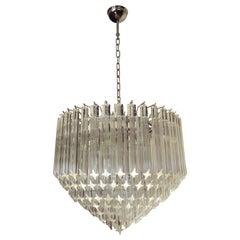 Modern Quadriedri Murano Glass Chandelier, 163 Trasparent Prism Quadriedri