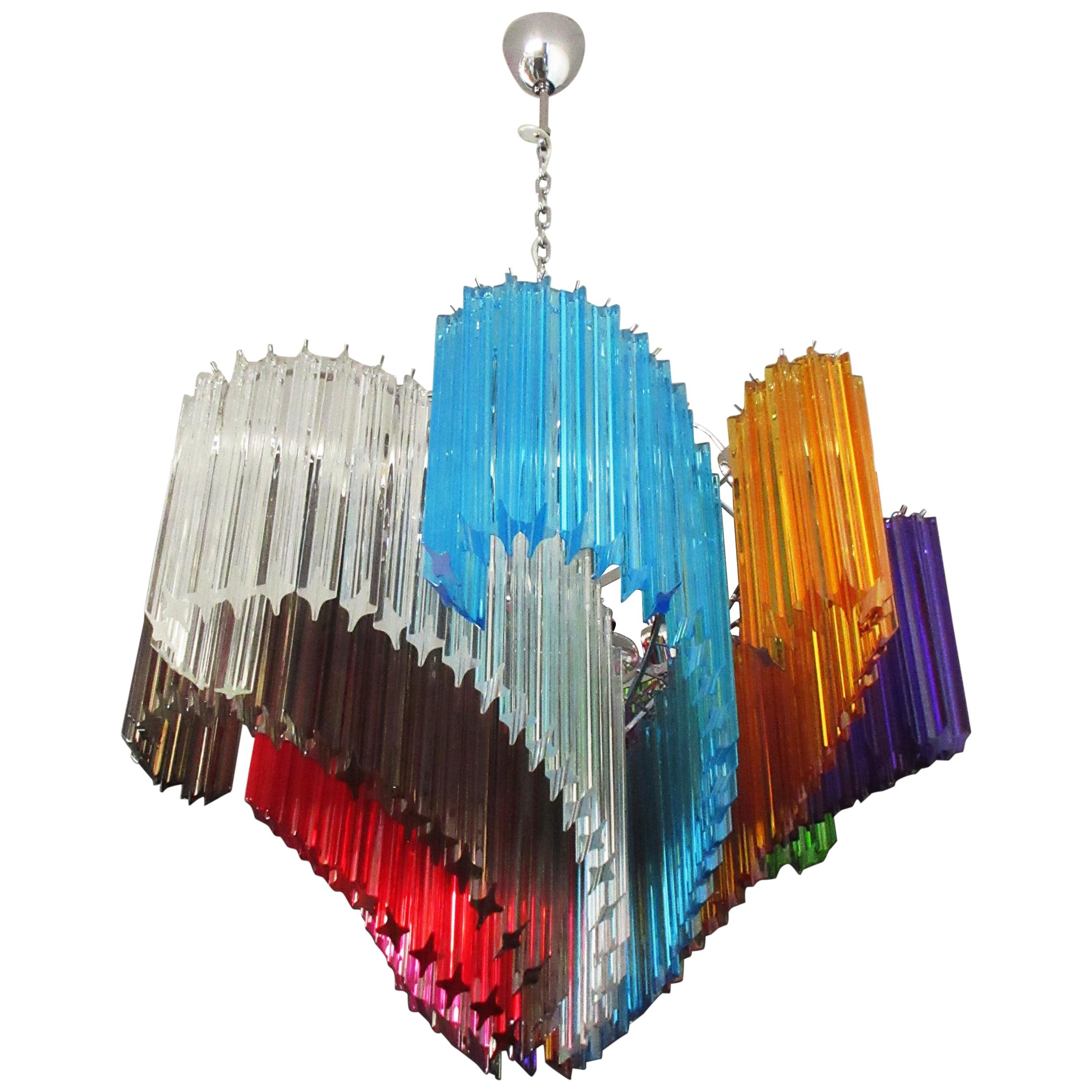 Modern Quadriedri Murano Glass Chandelier, 200 Multicolored Prism Quadriedri