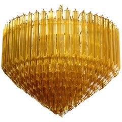 Modern Quadriedri Murano Glass Chandelier, 265 Amber Prism, Gold Frame