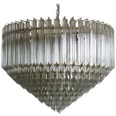 Modern Quadriedri Murano Glass Chandelier, 265 Trasparent Prism, Gold Frame