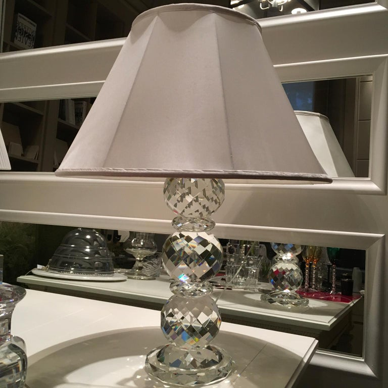 Modern Ralph Lauren Clear Crystal Faceted Table Lamp With