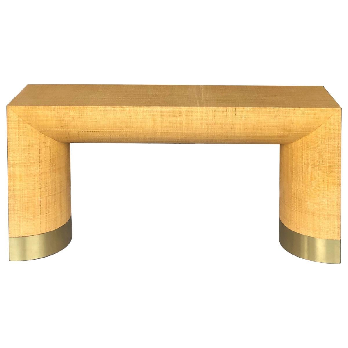 Modern Rattan and Brass Console Table, 1970s