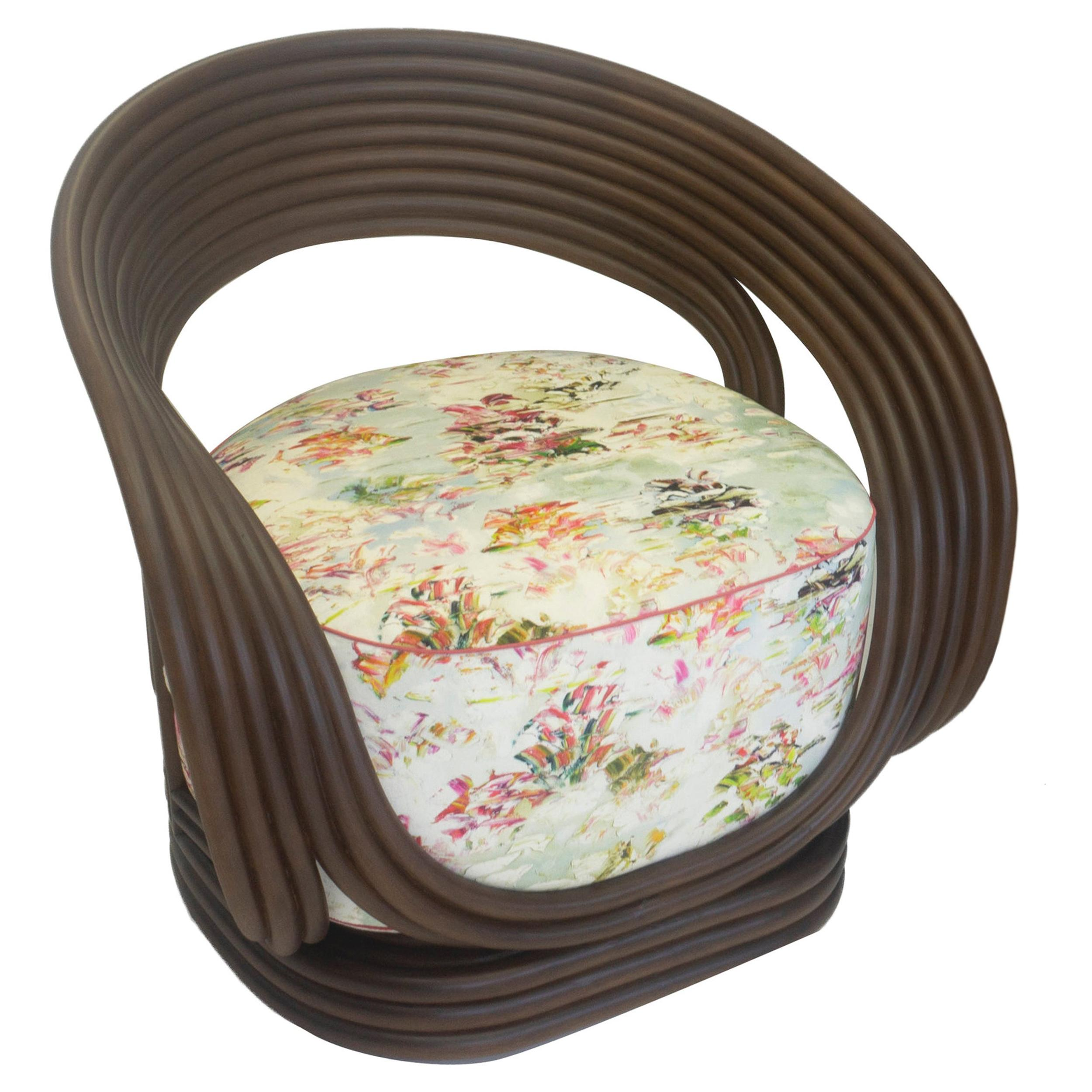 Modern Rattan Chair with Deep Round Cushion
