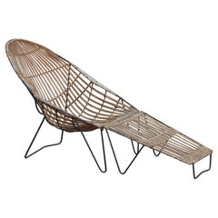 Modern Rattan Chaise Lounge Chair and Ottoman Van Keppel-Green Style