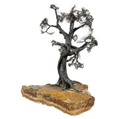 Modern Raw Edge Botanical Art Bonsai Tree Sculpture in Stone & Stainless Steel