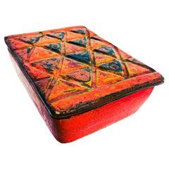 Modern Raymor Italy 1960s Red Lidded Pottery Box Geometric Design Guido Gambone