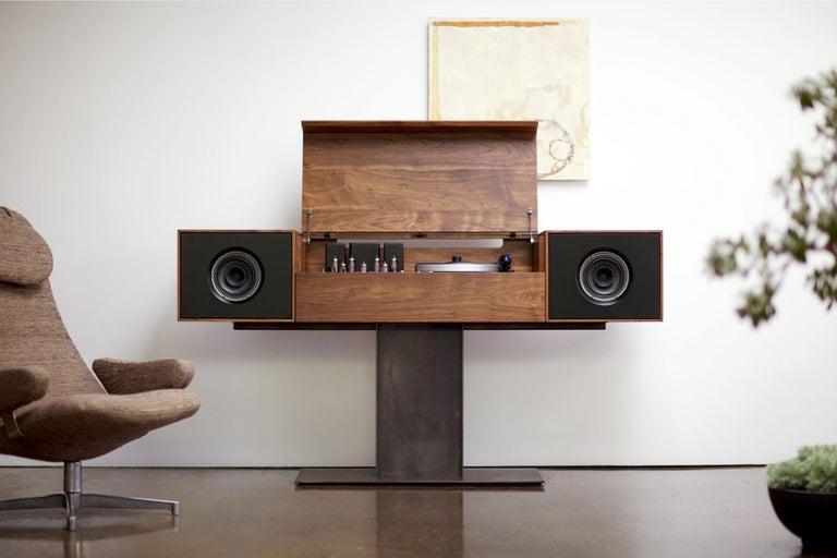 American Modern Record Console Glacier White Speaker Front For Sale