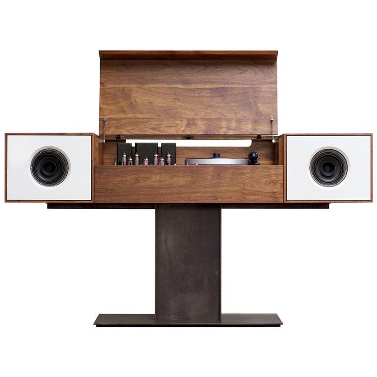 Modern Record Console Glacier White Speaker Front For Sale