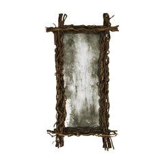 Modern Rectangular Aged Wood Belgian Mirror, 1970