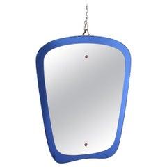 Modern Rectangular Blue Italian Mirror, 1970s