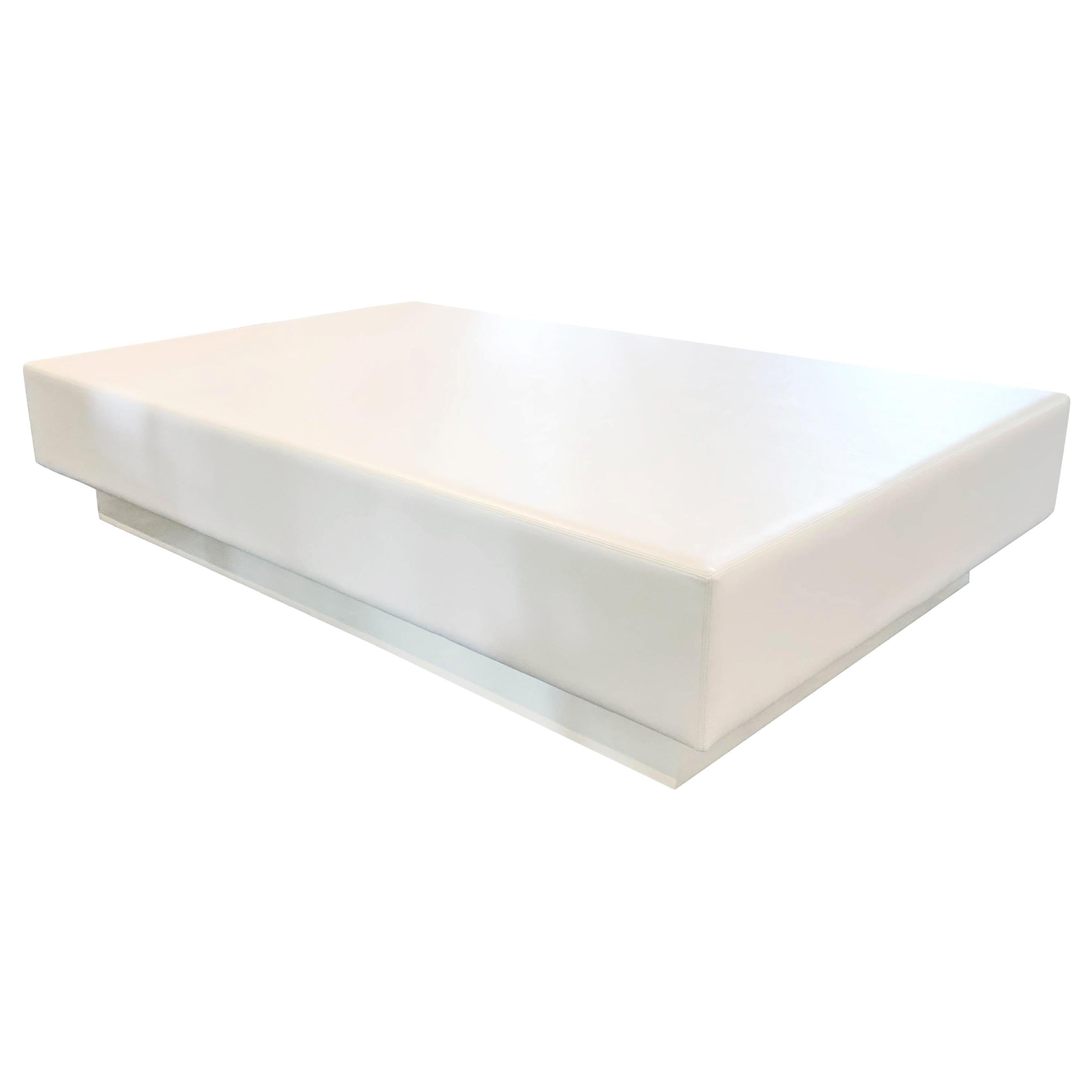 Modern Rectangular Coffee Table with Vinyl Padded Top