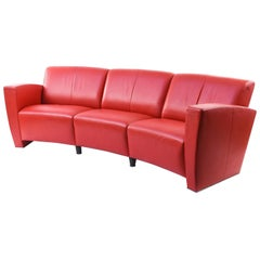 Modern Red Leather Crescent Sofa
