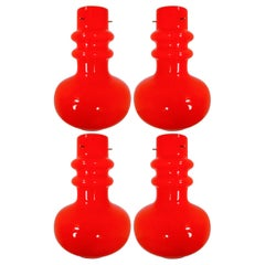Modern Red Opaline Glass Pendant Lamp Italy, 1970s