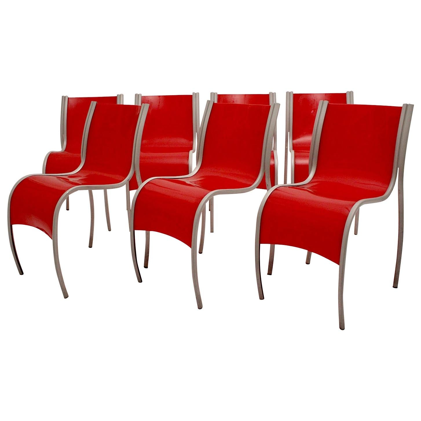 Modern Red Plastic Vintage Seven Dining Chairs by Ron Arad Kartell Italy, 1999