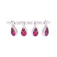 Modern Red Rubies Kinetic Teardrop Ruby Cocktail Ring