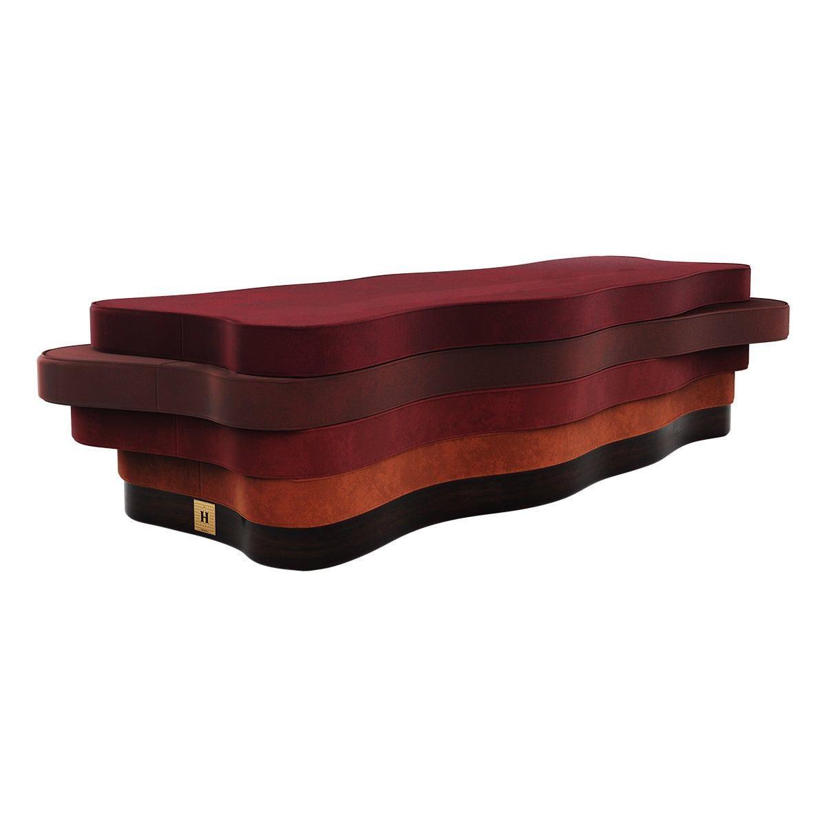 21th Century Contemporary Red Velvet Bench