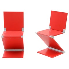Modern Red Zig Zag Chairs Handmade by Peter Harrison