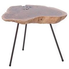 Modern Redwood Burl Side Table