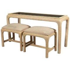 Modern Reed Console with Matching Benches