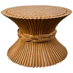 Modern Regency Bamboo Sheaf of Wheat Occasional Table / Pedestal by McGuire