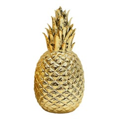 Modern Regency Style Golden Pineapple Decorative Porcelain Object