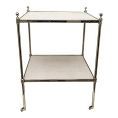 Modern Regency Two-Tier Side Table, Nickel-Plated with Faux Shagreen Shelves