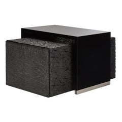 Duo Side Tables with Piano Black Lacquer and Resin Art Texture, Available Now