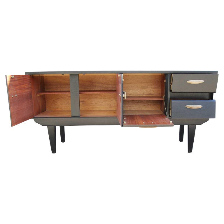 American Modern Restored Black and Natural Wood Finish Angled Drawer Credenza/Sideboard For Sale