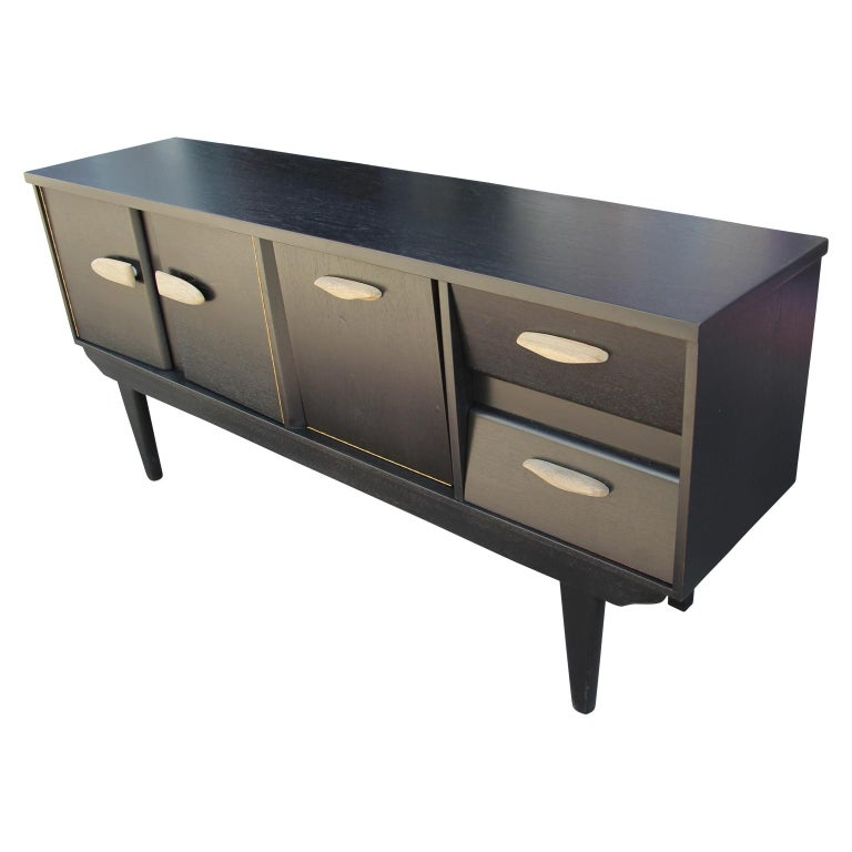 Modern Restored Black and Natural Wood Finish Angled Drawer Credenza/Sideboard In Excellent Condition For Sale In Houston, TX