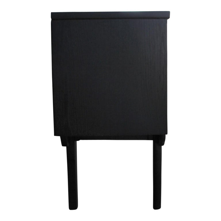 20th Century Modern Restored Black and Natural Wood Finish Angled Drawer Credenza/Sideboard For Sale