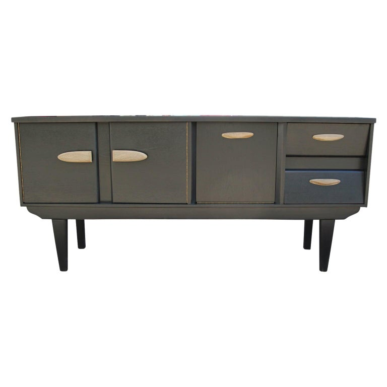Modern Restored Black and Natural Wood Finish Angled Drawer Credenza/Sideboard For Sale