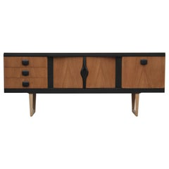 Modern Restored Two-Tone Danish Style Teak Credenza or Sideboard