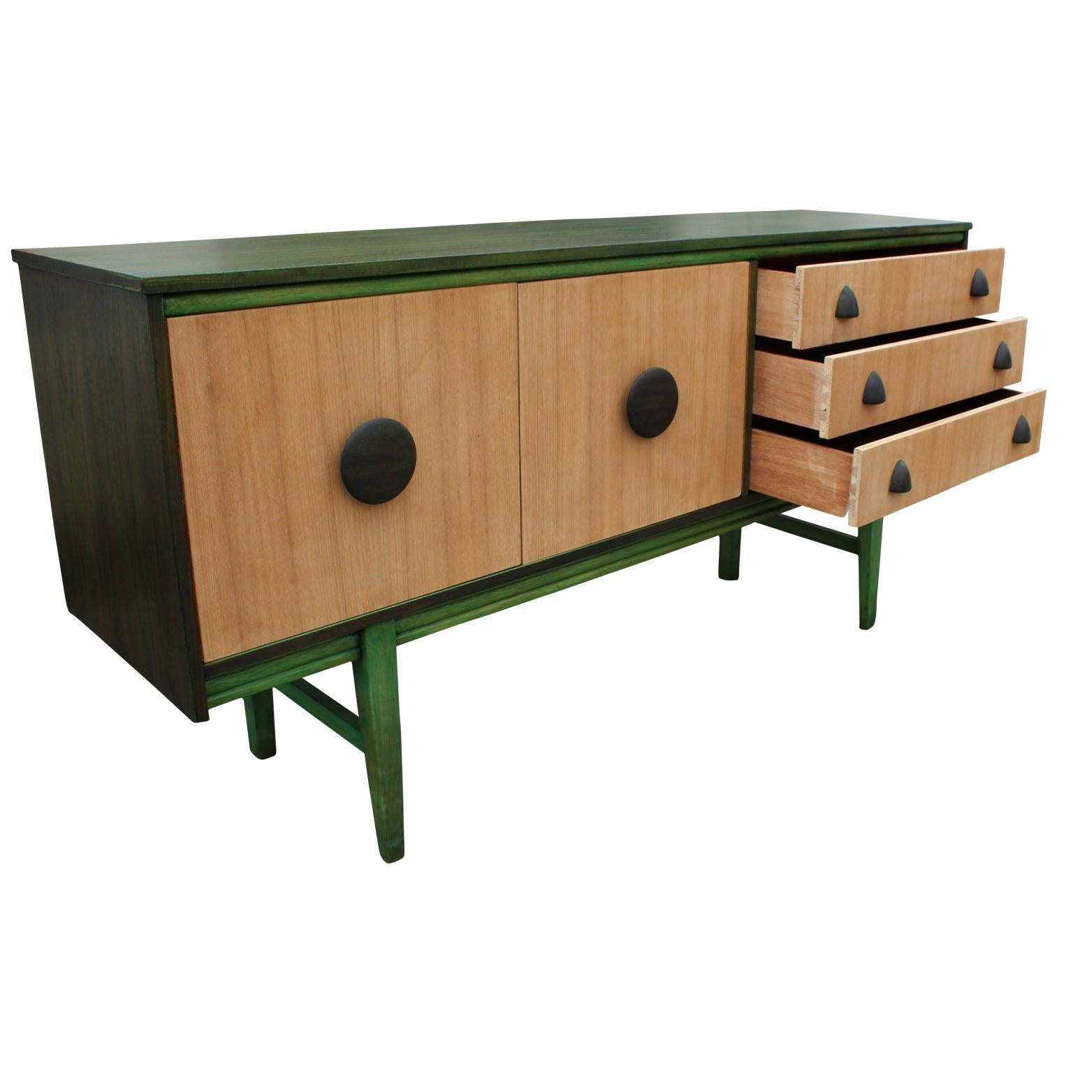 Modern Restored Two-Toned Green Dyed and Natural Wood Dresser / Sideboard