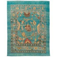 Modern Revival Blue Handmade Floral Wool Rug