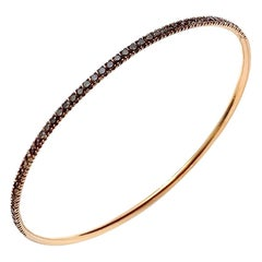 Modern Rigid Fine Jewellery Brown Diamond Yellow 18 Karat Gold Bangle Bracelet