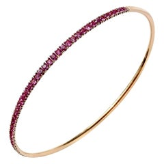 Modern Rigid Fine Jewellery Pink Sapphire Yellow 18 Karat Gold Bangle Bracelet