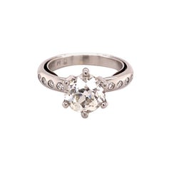 Modern Ring in Platinum 950 Set with Old European-Cut Diamond of 1.70 Ct