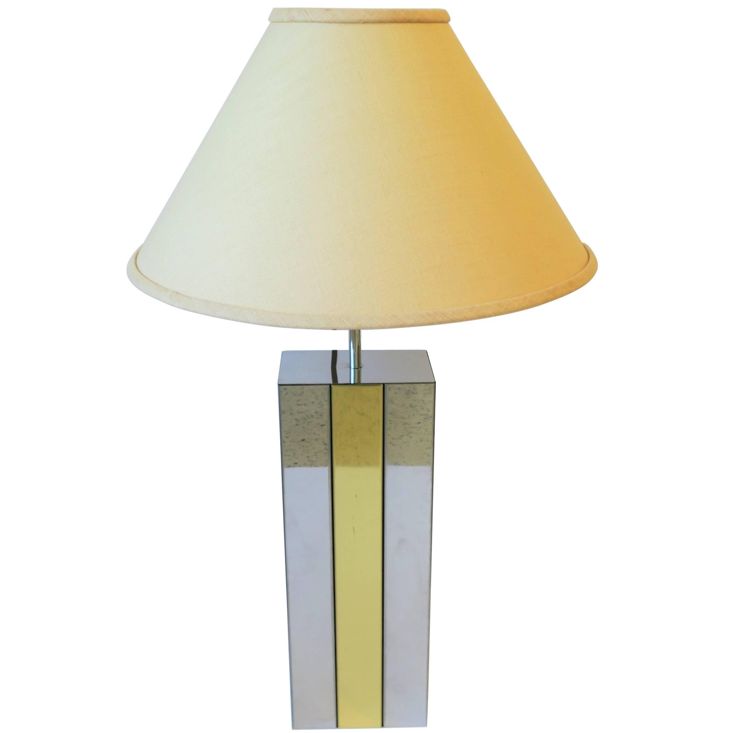 Modern Robert Sonneman Chrome and Brass Table Lamp, ca. 1970s