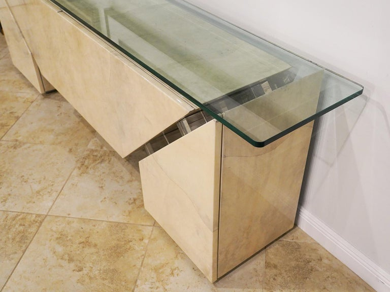Modern Roche Bobois Lacquered Goatskin Sideboard with Glass Top For Sale 5