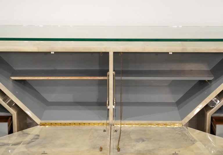 Modern Roche Bobois Lacquered Goatskin Sideboard with Glass Top In Good Condition For Sale In Ft. Lauderdale, FL