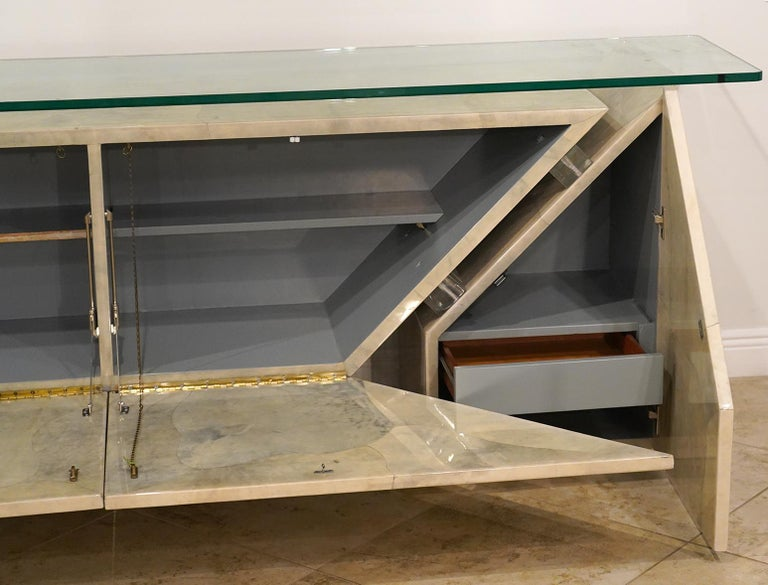 20th Century Modern Roche Bobois Lacquered Goatskin Sideboard with Glass Top For Sale