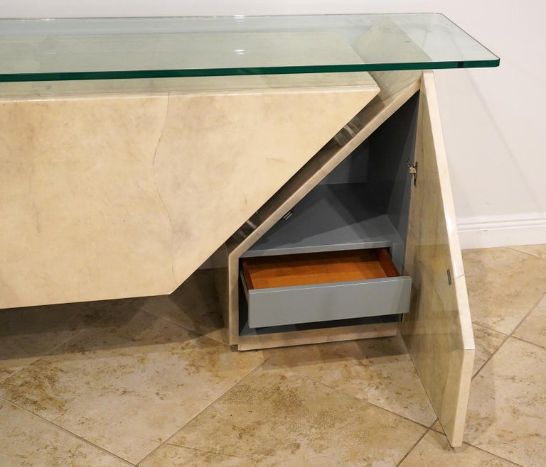 Modern Roche Bobois Lacquered Goatskin Sideboard with Glass Top For Sale 3