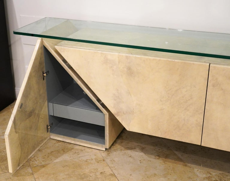 Modern Roche Bobois Lacquered Goatskin Sideboard with Glass Top For Sale 4
