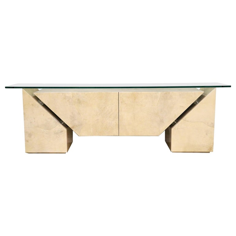 Modern Roche Bobois Lacquered Goatskin Sideboard with Glass Top For Sale