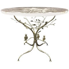 Modern Rock Crystal Table on Hand Forged Silver-Leafed Iron Base, One of a Kind