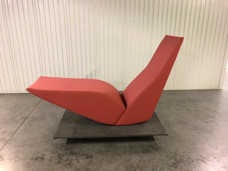 Bird chaise by Tom Dixon is a bold, modern, sculptural piece that makes a statement and is destined to bring color to your home, lobby, entry or break out area. The very rare and unusual furniture typology of the rocking chaise longue is explored